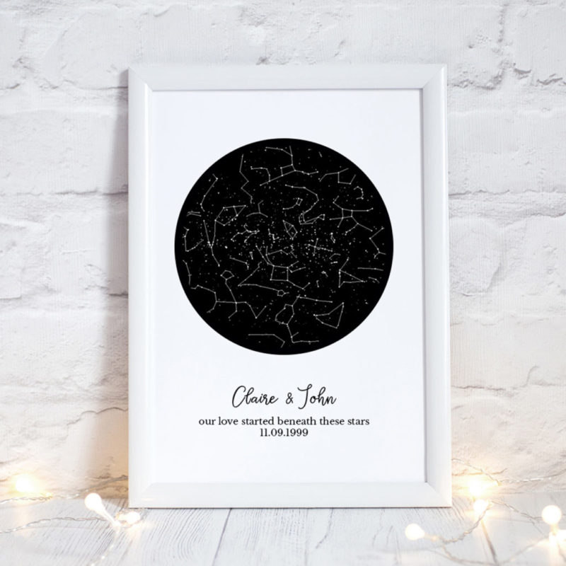 the night sky, custom star map, personalised constellation map - 3 sizes